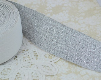 Wide Elastic Sparkly Ribbon Trim - Silver