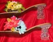 SILK flower slip on sandals.. Lucite Chunky heels. See THRU vase heels.BOHO shiek. weddings. cocktail parties. DEsigner Style heels