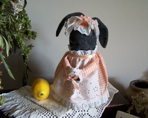 Charcoal Gray Sock Bunny Rabbit , Hand Made Vintage 1995 Easter
