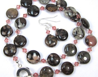 Necklace Combo Chocolate Brown and Pink Gemstone and Swarovski Crystal Necklace and Earring Set