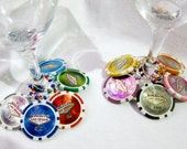 Las Vegas clay POKER CHIP Wine Charms -- One set of 10 wine charms