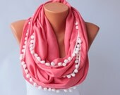 Coral infinity scarf with pompom trim  ,circle scarf,Loop scarf soft pashmina scarf ,CHOOSE YOUR COLOR