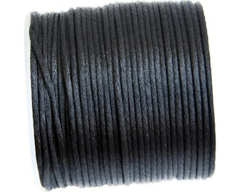 2 mm Black satin rattail cord, Macrame cord, Satin Rattail Cord for macrame, jewelry making, knotting, beading cord 5m - 5.5 yards S 40 033