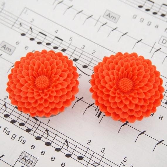 1 1/8 inch  28mm Orange Flowers Steel Double Flare Tunnels gauge piercing streched lobes body art chic fun fashion kawaii