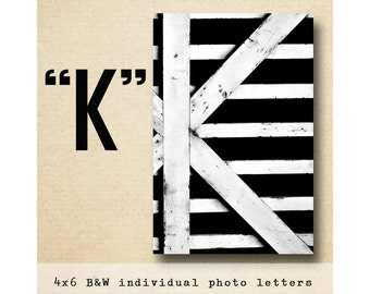 Letter K Alphabet Photography  BW 4x6 Photo Letter UNFRAMED