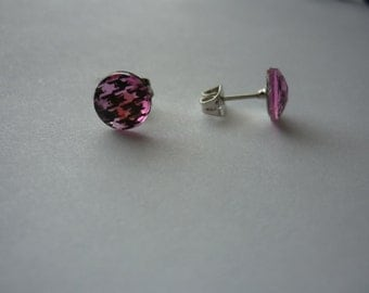Light Pink Houndstooth Earrings