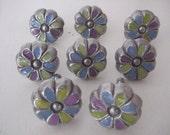 Colorful Enameled Flower Cabinet Knobs