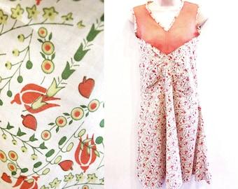 Vintage 20s Dress, Sleeveless Cotton Orange Flower Print Frock, Free shipping