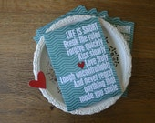 Inspirational Life is Short Greeting Card - Good Life - Teal Turquoise Chevron Friendship Card Birthday