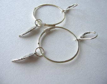 Handformed Wire Wrapped Silver Hoops with Feather Charms