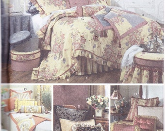 Comforter Dust Ruffle Throw and Pillow Shams Bedroom Set Sewing Pattern Simplicity 5061