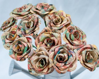 One Dozen Long Stem Comic Book Paper Roses