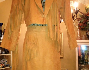 Beautiful Suede Leather with fringe two piece outfit  in a rich tan color