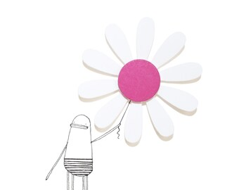 Mum Birthday Card, Pink Flower Card, Pink Daisy Card for Mom, Flower Birthday Card, Blank Card for Friend, Garden, Nature Lover, Poosac