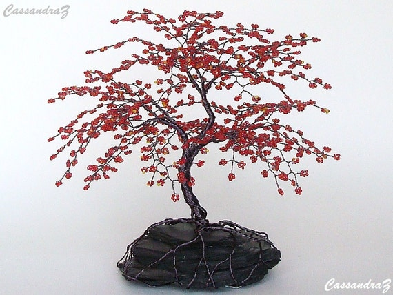Red cherry blossom beaded bonsai wire tree sculpture 8 for How to make a wire tree of life sculpture
