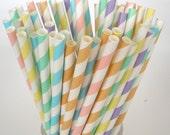 "Pastel Paper Straws ""SPRING BOUQUET"" of Stripe Paper Drinking Straws.... Choose 25, 50, 75 or 100 Paper Straws  Fast Shipping"