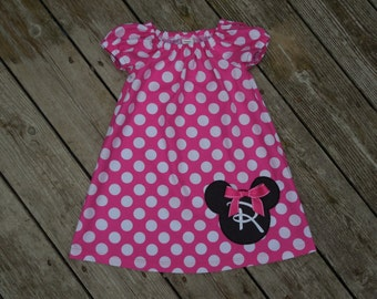Girl's Infants Toddlers Peasant Dress -  Personalized Pink and White Mickey Mouse Dress