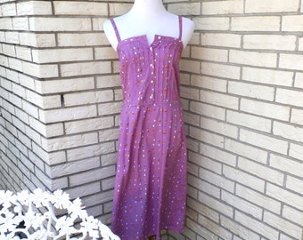 1980s Lavender Silk Dress Geometric Print Pintuck Bodice Spaghetti Strap Summer Sundress Womens Vintage Medium