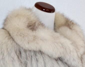 1980's Saga Fox Fur Coat Blue Oversized Collar Glam Medium