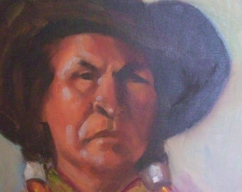 Vintage Original painting American Indian wearing cowboy hat Autumnal colors purple orange reds Thanksgiving