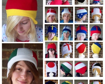 Any TWO Hetalia Flag Hats - Fleece Hat Adult, Teen, Kid - A winter, nerdy, geekery gift!!