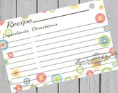 Retro Recipe Cards 4x6 Printable 3x5 Circles Recipe Card Red Blue Green Gold Yellow 3 Sizes