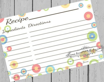 Colorful Printable Recipe Card | 3.5x5 Blank Recipe Cards 4x6 | 3x5 Recipe Card For Bridal Shower | Hostess Gift Ideas