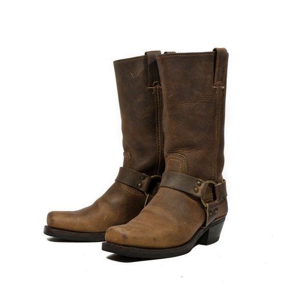 s frye harness boots brown leather motorcycle biker