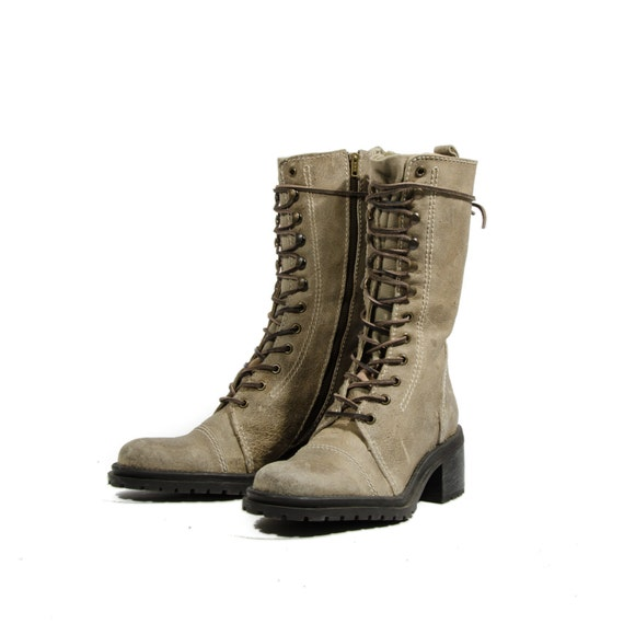Army Green Fashion Combat Boots Cap Toe Lace Up Boots Mid Calf