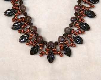 Pietersite and Brown Copper Beaded Leaf Drop Necklace