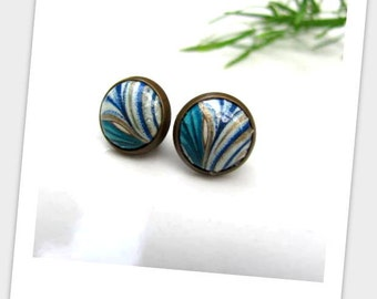 Blue leaf Paper Studs Earrings