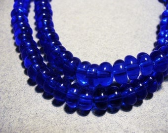 Glass Beads Blue Rondelle 6x3MM