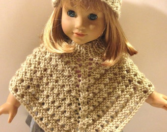 American Girl Poncho and Hat, Hand Knit, Beige, Ready to Ship