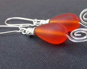 Orange Sea Glass Earrings:  Tangerine Tango and Vintage Filigree Beach Jewelry, Hammered Silver Swirl Pierced Dangle Earrings