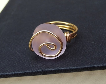 Pink Sea Glass Ring:  24K Gold Swirl Spiral Wire Wrapped Blush Rose Beach Jewelry, Size 7