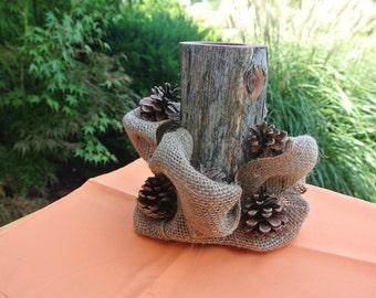 Rustic Fall Home Decor,  Log Candle Holder Centerpiece, Burlap & Pine Cones Decor