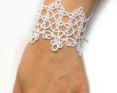 Wedding bracelet White tatted lace cuff Fantasy accesories Bridal lace-up bracelet - LandOfLaces
