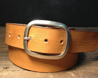 Tan Leather belt - Handmade in USA