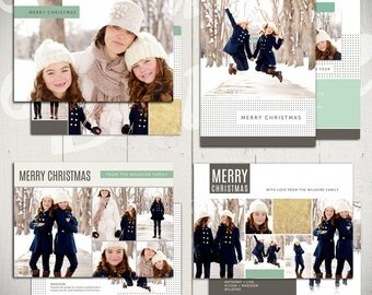 Christmas Card Templates: Bright White - Set of Four 5x7 Holiday Card Templates for Photographers