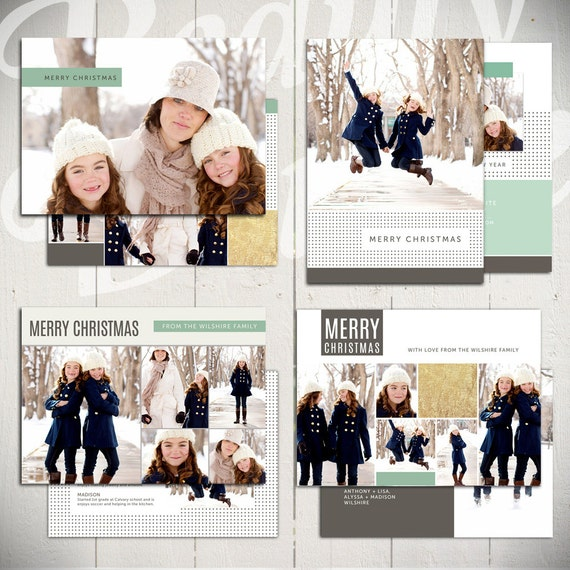 White set of four 5x7 holiday card templates for photographers