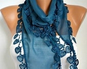 Teal Heart Scarf  -  Scarf -Cotton Cowl Scarf - Shawl  with Lace Edge   -fatwoman - Bridesmaids Gifts