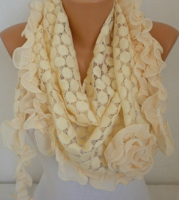 LemonChiffon Lace Scarf, Winter Rose Scarf, Cowl Shawl Bridesmaid Gift Gift Ideas For Her Women Fashion Accessories best selling item scarf