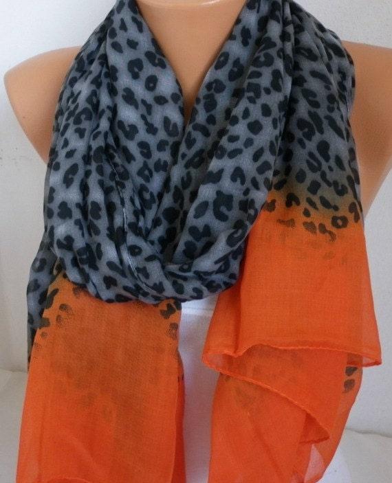 Grey & Orange Leopard Scarf  Oversize Scarf  Shawl Cotton Scarf Cowl Scarf Gift for Her Women Fashion Accessories