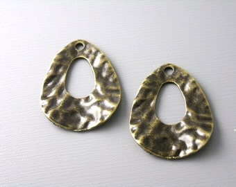 CHARM-AB-DP-24MM - Antique Bronze Textured Drop Charm, Two Sided, 6 pcs