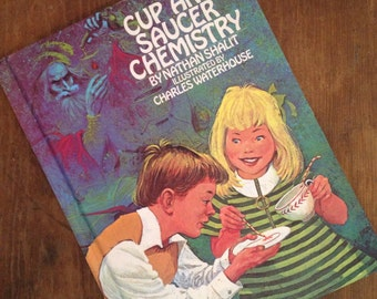 Cup and saucer chemistry vintage child's book