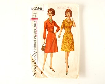 Vintage 1960s Simplicity Pattern 6194, Misses' and Women's One-Piece Dress (Complete, Size 42, Bust 44) - Collectible, Altered Art, Sewing
