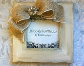 White Frame Bow Burlap Ivory Gold Rustic Wood Bling Jewel Bride Baby Anniversary Personalized