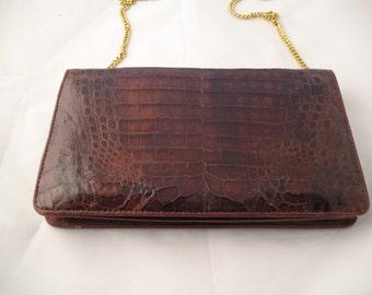 Genuine Crocodile Brown Handbag with Gold Chain