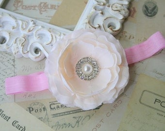 Baby headband..Baby Headbands..Baby Girl Headbands..Flower headbands..Pink and Ivory headbands..Pink and Ivory Flower Headbands..Little Girl