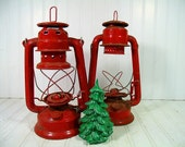 Vintage Fire Engine Red Rustic Metal Lanterns Pair - Dietz Junior 20 & Globe Light 505 Well Aged Rusty Duo - Shabby Chic Holiday Decorations